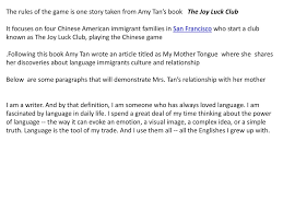the rules of the game ppt video online the rules of the game is one story taken from amy tan s book the joy luck