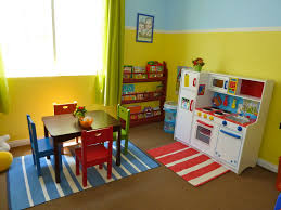 Charming Blue And Yellow Wall Painted Also Custom Cabinetry As Storage Also  Mini Table And Chair Set On Blue Carpet As Inspiring Colorful Playroom Ideas