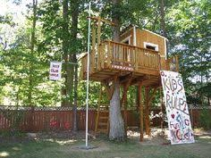 Treehouses for kids Pallet Kids Tree House With Climbing Wall And Sliding Pole Love It But This May Be Pinterest 29 Best Kids Treeplay House Images Gardens Treehouse Log Homes