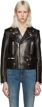saint lau black leather motorcycle jacket women yves saint lau elle yves saint lau