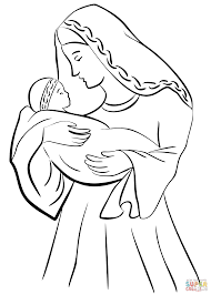 Small Picture Mother Mary with Baby Jesus coloring page Free Printable