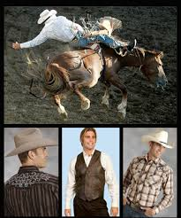 Cowboys wearing rodeo clothes
