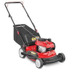 gas lawn mower. troy-bilt tb110 140cc 21-in push residential gas lawn mower with mulching capability o