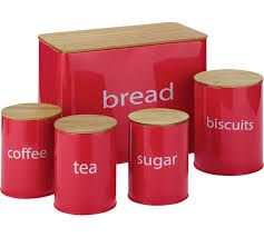 ColourMatch 5 Pack Wooden lid Storage Jars - Red
