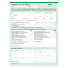health history forms ada health history forms 2 sided english 8 5 in x 11 in 100 pk
