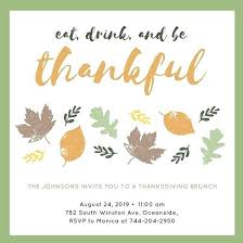Fall Party Invitation Template Autumn Leaves Script Thanksgiving