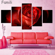 red rose canvas painting 5 piece wall art picture for wall decor canvas prints wall paintings