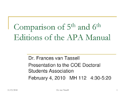 Comparison Of 5th And 6th Editions Of The Apa Manual Ppt Download