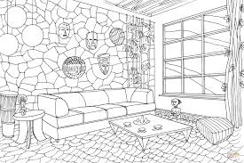 Living Room Coloring Living Room In African Style Coloring Page Free Printable
