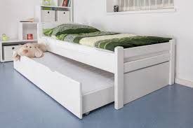 single bed easy premium line k1 2h incl trundle bed frame and cover plates solid beech wood white 90 x 200 cm
