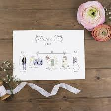 Wedding Schedule Bespoke Illustrated Wedding Schedule By Wildflower Illustration Co