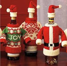 How To Decorate A Wine Bottle For Christmas Fashion Christmas Wine Bottle Dress And Hat Knit Sweater Wine 65