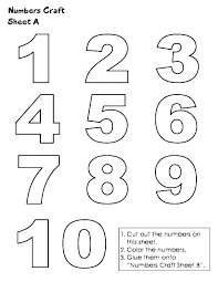 Number Coloring Sheets For Preschoolers Numbers Pages Preschool