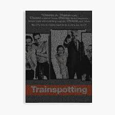 Text Portrait of Trainspotting Poster with full script of the movie  Trainspotting (Black Background)