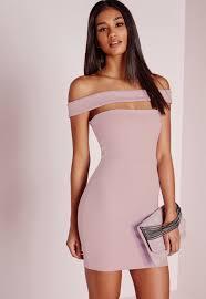 Cut Out Panel Bardot Bodycon Dress Lilac Dresses Bodycon Dresses