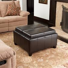 leather coffee table with storage small
