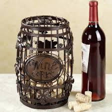 the creative wine corks rack bucket style and goblet glass metal decoration cork storage wooden box