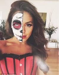 brown hair style half face white sugar skull best makeup