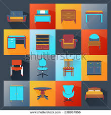 creative furniture icons set flat design. furniture icons flat set with wardrobe mirror computer table isolated vector illustration creative design n