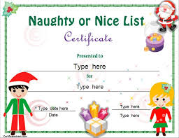 Christmas Education Certificate Templates For Kids Naughty Or Nice