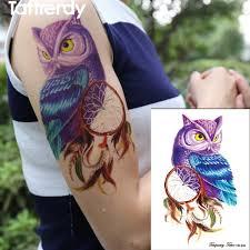 Dream Catcher Tattoo Color 100piece Temporary Tattoo Color Owl dream catcher tattoos Stickers 35