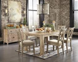dining room table set. Signature Design By Ashley Mestler Driftwood Finish Rectangular Dining Room Table With Block Legs | Rotmans Kitchen Tables Worcester, Boston, MA, Set N