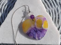 large yellow and purple onyx geode agate heart necklace pendant with genuine white sea glass purple jade gemstone bead free b241