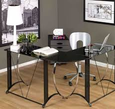 furniture l shaped desks for home office with classy design with black glass top black shaped office desks