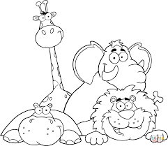 Small Picture Hippo Giraffe Elephant and Lion coloring page Free Printable