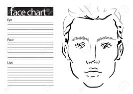 9 Man Face Chart Makeup Artist Blank Template Vector