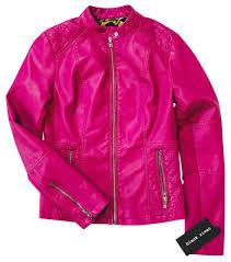 black rivet fushia berry scuba w womens faux leather w quilt detail and knit inset jacket