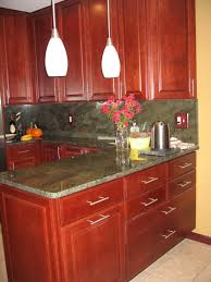 Kitchen Cherry Cabinets Granite Color For Cherry Cabinets