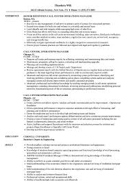 Operations Manager Resume Examples Call Center Operations Manager Resume Samples Velvet Jobs 51