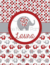 Personalized Binder Cover Insert Elephant Crimson And