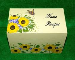 Decorative Recipe Box Hand Painted Wood Recipe Box Decorative Wooden Wedding Recipe 28