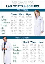 Unisex Lab Coat Size Chart Lab Coats Scrubs Size Chart
