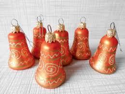 6 Christbaumschmuck Weihnachtskugel Glöckchen Orange Gold Vintage