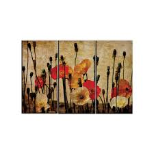 triptych wall art canvas prints poppies vintage