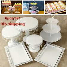 Set Of 6pcs Cake Stand Candy Dessert Holder Wedding Party Crystal
