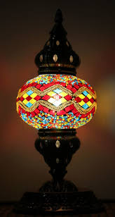 turkish mosaic table lamp medium red yellow