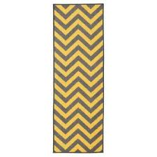 anne collection chevron design yellow and grey 3 ft x 10 ft non