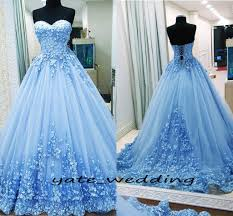 Light Blue Prom Dresses 2018 2018 Ball Gown Prom Dresses Sweetheart Appliques Tulle Backless Bandage Light Blue Evening Gowns Quinceanera Dresses Sweet 16 Dresses