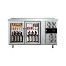 stainless steel under counter glass door refrigerator electricity