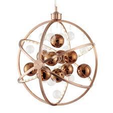 sphere pendant light. Muni 10w LED Clear And Copper Glass Sphere Pendant Light