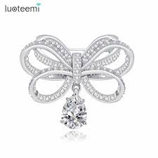 letter brooch promotion shop for promotional letter brooch on luoteemi new arrival 2016 vintage cz bowknot brooches for women bijoux jewelry fashionbridal dress pins wedding accesories