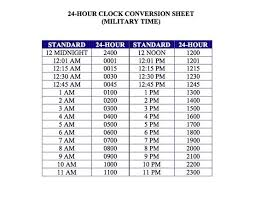 24hr Conversion Chart 24 Hour Time Sheet Beautiful 24 Hour Clock Time Conversion