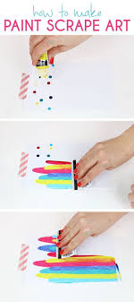 How to make paint scrape art notecards. Fun and simple DIY art project idea  for