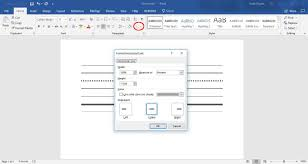 horiztal how to insert lines in word