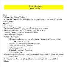 Free Agenda Samples Adorable Board Of Directors Meeting Agenda Template Free Royaleducation