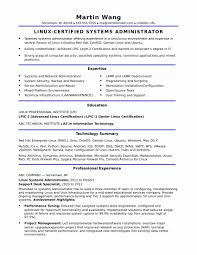 Linux Administrator Resume Format Fresh Resume System Administrator